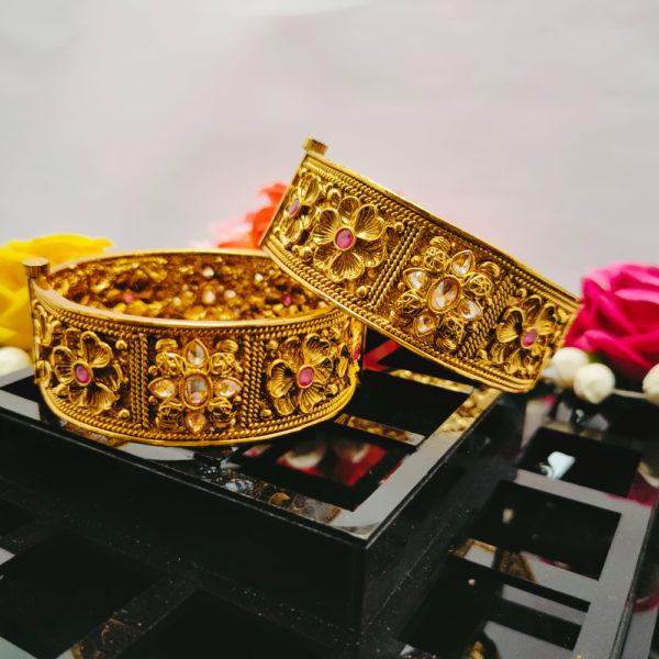 AD Antique Gold Bangles - ADAGB102
