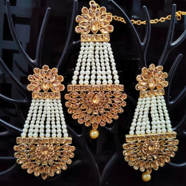 Mangtika Earring Combo ChandBali Pattern - CBMTE101