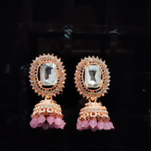 Rose Gold Jhumka Pattern Earrings - RGJMKE102