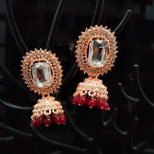 Rose Gold Jhumka Pattern Earrings - RGJMKE103