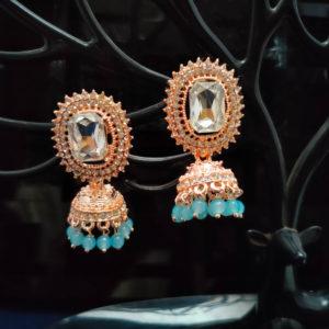Rose Gold Jhumka Pattern Earrings - RGJMKE101