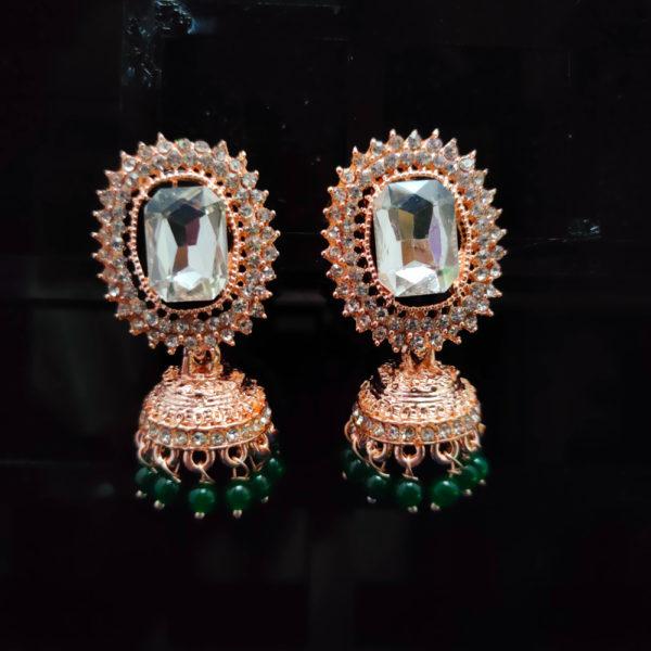 Rose Gold Jhumka Pattern Earrings - RGJMKE105