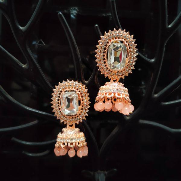 Rose Gold Jhumka Pattern Earrings - RGJMKE104
