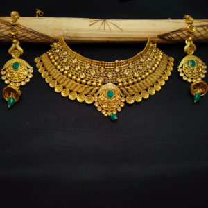Golden Bridal Jewellery Green Stone - BRIDAL101