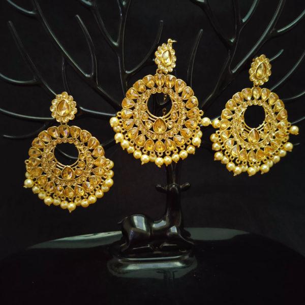 Mangtika Earring Combo ChandBali Pattern – CBMTE115
