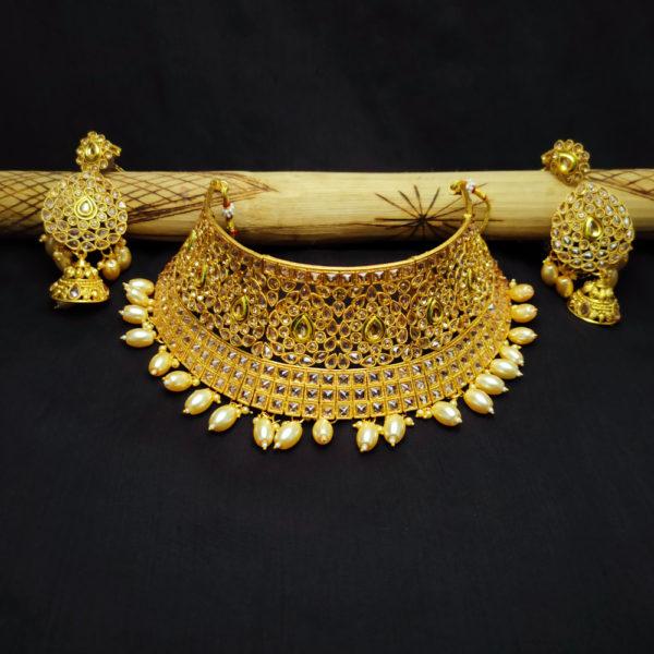 Polki Stone Golden Bridal Jewellery - BRIDAL111