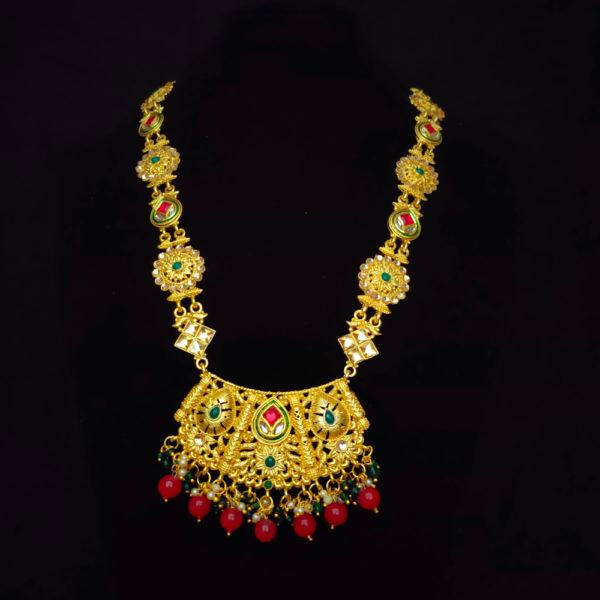 Antique Gold Red Green Bridal Jewellery - BRIDAL120