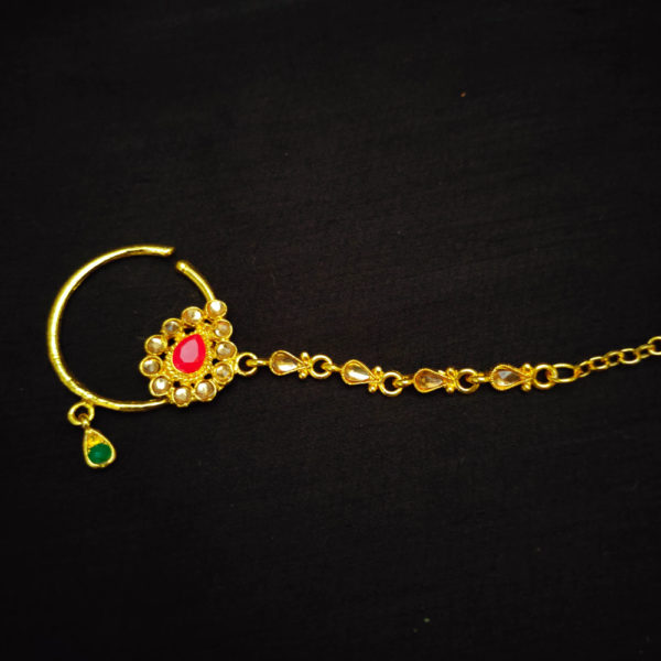 Antique Gold Base Red-Green Bridal Jewellery – BRIDAL121