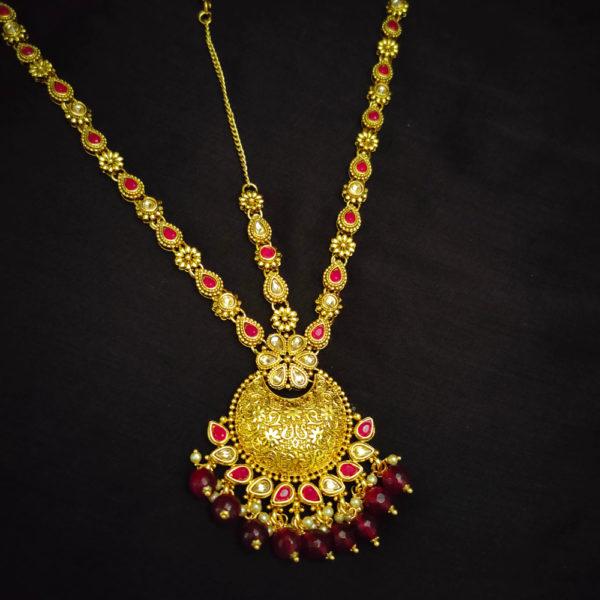Kundan Stone Rani Pink Bridal Jewellery - BRIDAL123