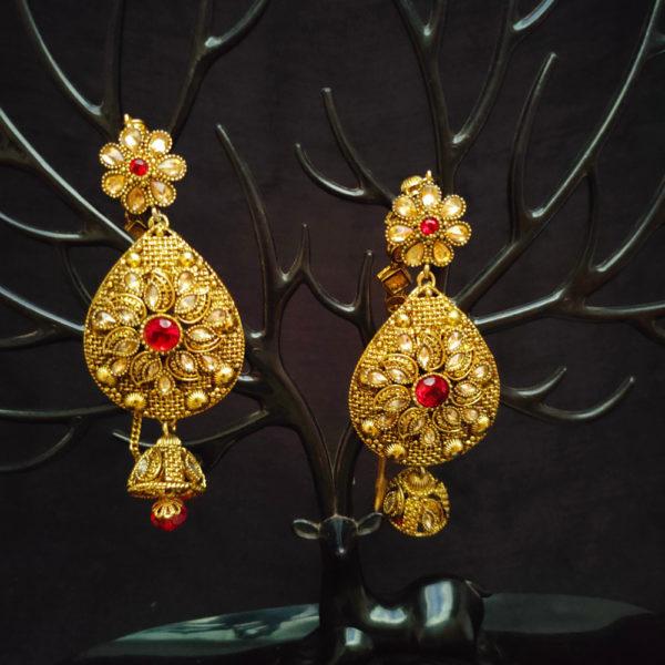 Oxidise Red Golden Bridal Jewellery - BRIDAL124