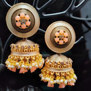 Peach Jhumka Earrings JMKE1042