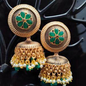 Green Jhumka Earrings JMKE1044