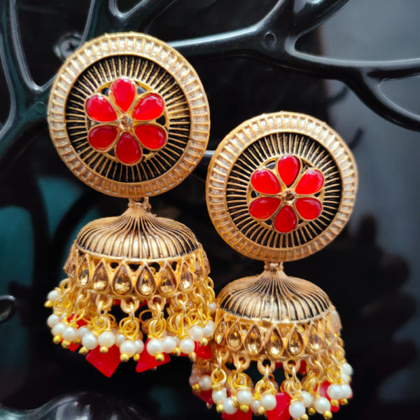 Red Jhumka Earrings JMKE1045