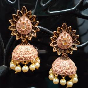 Pink Jhumka Earrings JMKE1046