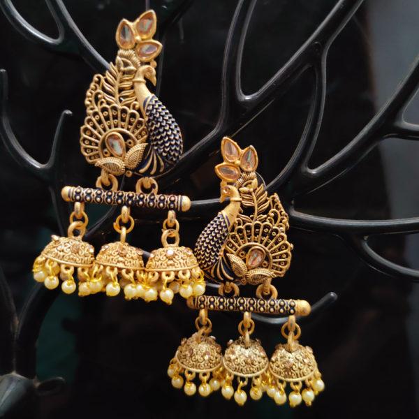 Peacock Design Triple Jhumka Earrings JMKE1049