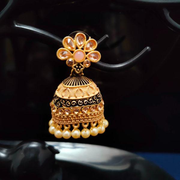 Peach Jhumka Earrings JMKE1050