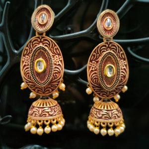 Oval Shaped Jhumka Earrings JMKE1051